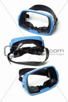 Three blue swimming goggles