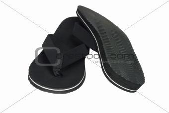 Pair of black flip flops