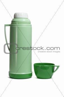 Green plastic thermos flask