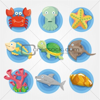 cartoon Aquarium animal icons set ,fish icons
