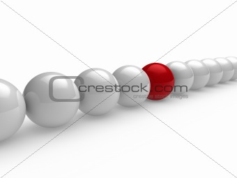 3d ball red white line