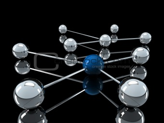 3d chrome blue network