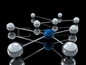 3d chrome blue network
