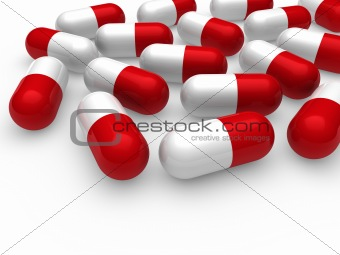 3d pill red white