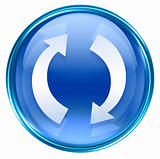 refresh icon blue, isolated on white background.