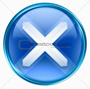 close icon blue, isolated on white background.
