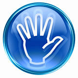 hand icon blue, isolated on white background.