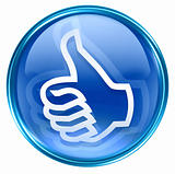 thumb up icon blue, isolated on white background.
