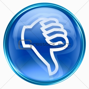 thumb down icon blue, isolated on white background.