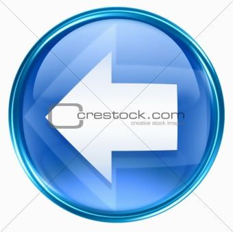 Arrow left icon blue, isolated on white background.