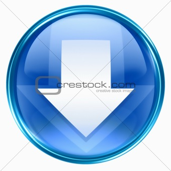Arrow down icon blue, isolated on white background.