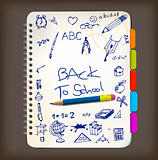 Back to school poster with doodle illustrations