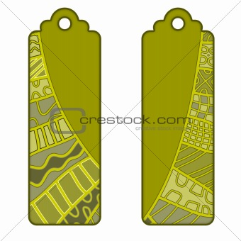 Beautiful tags or labels with green pattern