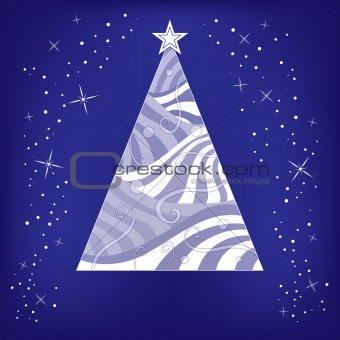 Abstract Christmas background with tree and stars