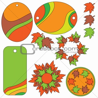 Autumn leaf and tag collection