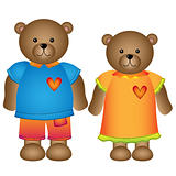 Girl and boy bear with clothes
