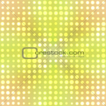 Green and orange background with bright dots