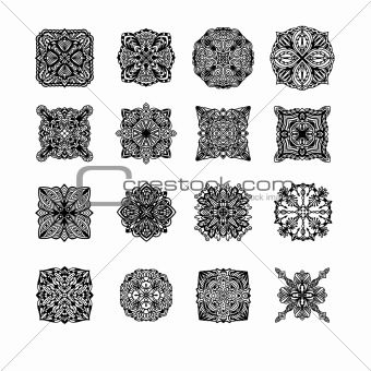 Black detailed ornament collection