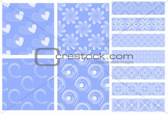 Blue and white tiling textures and trims