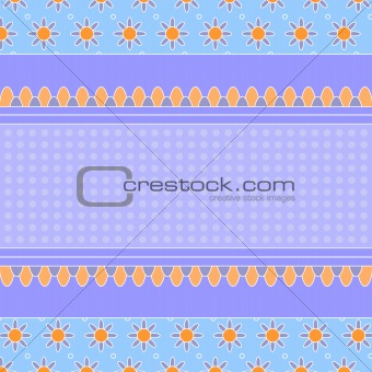 Blue and lilac background with flowers and dots