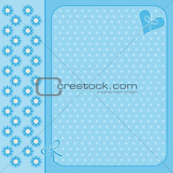 Blue background with heart and flowers