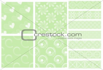 Green and white tiling textures and trims