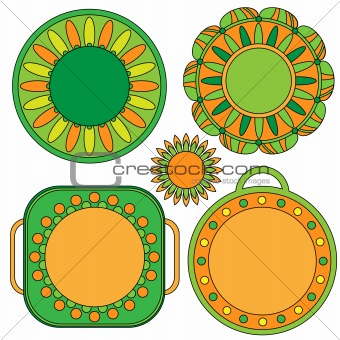 Green and orange lable, tag and flower collection