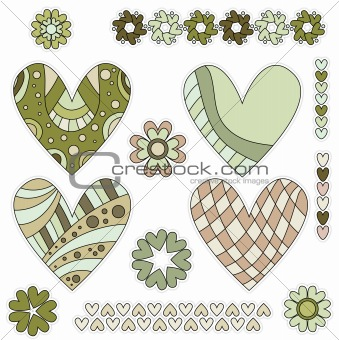 Green and brown hearts collection