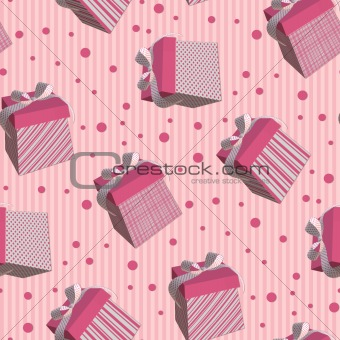 Tiling texture with pink gift boxes