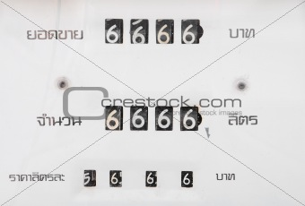 old analog gas pump meter show number 6666