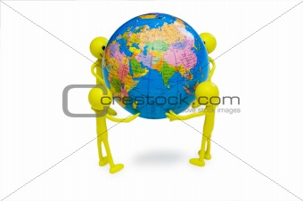 Smilies holding the globe isolated on white