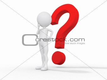 3d guy thinking in front of a big question mark - Isolated