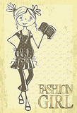 Retro cute smile girl. Vintage hand drawn fashion doodles