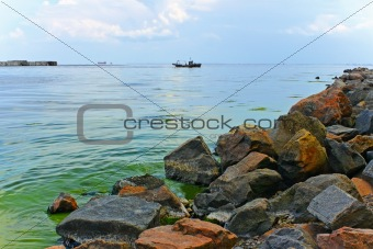 Bay with rocky shore