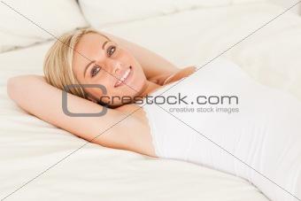 Cute woman lying down