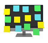 sticky notes on a monitor