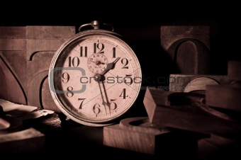 Old clock in a printing