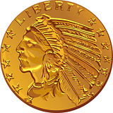 Vector American gold coin dollar