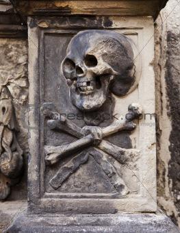Skull And Crossbones On Headstone