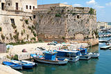 Gallipoli, Apulia - Angevin castle with fishing boats