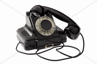 Old black vintage rotary style telephone