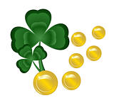 Two clovers and coins