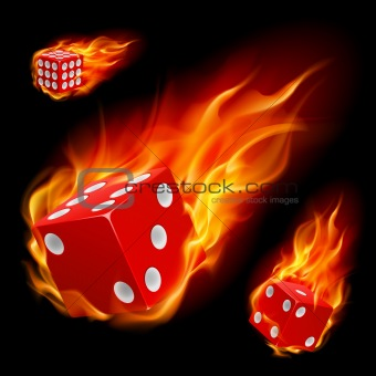 Dice in fire