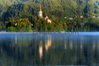 Church on the island - Lake bled in early morning