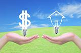 light bulb dollar symbol exchange light bulb model of a house in women hand on sky