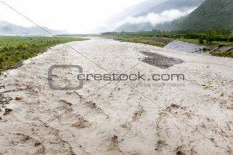 flooding river after heavy rain