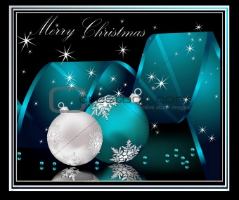 Image Description: Merry Christmas background silver and blue