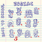 school zodiac signs, doodley set symbols