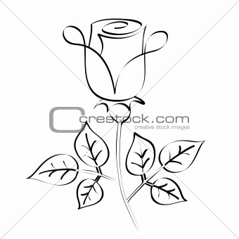 calligraphy rose silhouette
