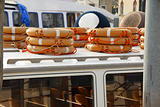 Stacks of life belts on boat